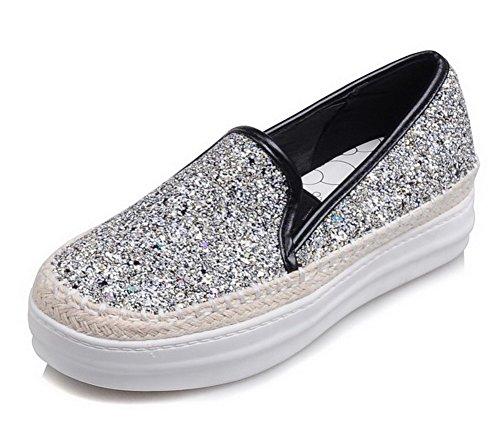 AgooLar Damen Ziehen Auf Pailletten Rund Zehe Mittler Absatz Rein Pumps Schuhe Silber