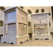 2x bianco comodino in legno con vimini cestini da letto mobili armadio