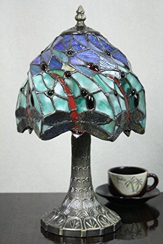 8-Zoll-Pastoral Stained Glass Dragonfly Tiffany Tischlampe Schlafzimmer Lampe Nachttischlampe (Tisch Stil Tiffany Dragonfly)