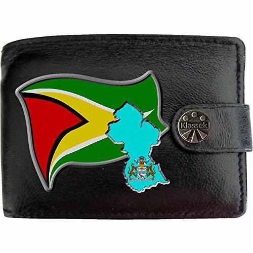 K Herren Geldbörse Portemonnaie Brieftasche Guyanese Wappen aus echtem Leder schwarz Guyana Geschenk Präsent Mit Metallbox ()