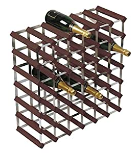RTA 42 Bottle Wine Rack 6x6 Dark Pine Galvanised Steel Ready To Assemble - WINE3019