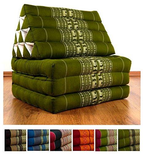Thaikissen mit 3 Auflagen der Marke LivAsia®, Kapok Dreieckskissen, asiatisches Sitzkissen, Liegematte, Thaimatte (grün / Elefanten)
