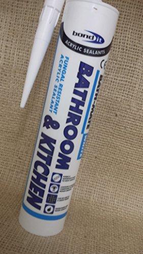 4 x bond-it-mate-sigillante per bagno e cucina, in silicone, colore: bianco
