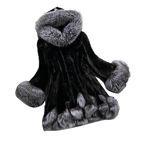 Uomogo poncho cappotto donna invernale vintage elegante giacca di pelliccia ecologica cape mantella collo alto cappotti manica mezza cardigan a manica pipistrello blazer outwear parka