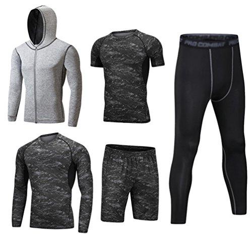 Dooxii Uomo 5 Pezzi Completi Sportivi Abbigliamento Giacca con Cappuccio Manica Corta Manica Lunga Camicie a Compressione Pantaloni a Compressione Pantaloncini Vestiti Set S