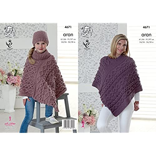 Aran childrens knitting patterns amazon king cole ladies girls aran knitting pattern for cable knit v or polo neck poncho hat 4671 dt1010fo