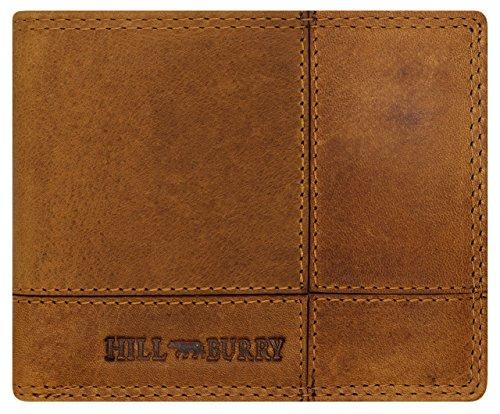 Geldbörsen Einzigartige (Hill Burry Klassische Herren Leder Geldbörse / Exklusiv Handgearbeitetes Vollleder Portemonnaie / Praktisch Kompakte Echt-Leder Brieftasche / Einzigartig Naturgegerbtes & Geöltes Portmonee -)