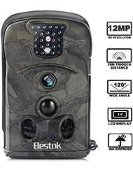 Bestok Caméra de Chasse 12MP HD Caméra Animaux de Surveillance 20m Infrarouge 120° Grand Angle Vision Nocturne IR LEDs Basse Luminosité Imperméable