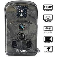 Bestok Cámara de Caza 12MP HD para Vigilancia Visión Nocturna 120 °Gran Angular Impermeable Cam Trail IR Invisible PIR Infrarrojo Sensor de Movimiento hasta 20M