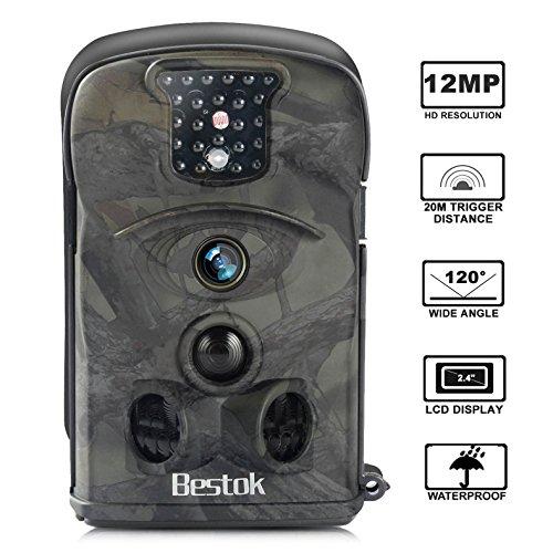 Foto de Bestok Cámara de Caza 12MP HD para Vigilancia Visión Nocturna 120 °Gran Angular Impermeable Cam Trail IR Invisible PIR Infrarrojo Sensor de Movimiento hasta 20M