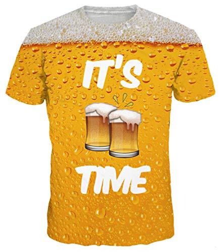 Ocean Plus Herren Spaß 3D Digitaldruck Muster T-Shirt Rundhals Unisex Damen Kurzarm Tee Shirt Tops (XL/170-175, Bier) -