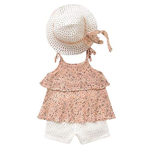 Bekleidungssets Kleinkind Kinder Prinzessin Kostüm Baby Mädchen Kleidung Ärmelloses Sommerkleidung Outfits Kleidung Chiffon Floral Weste + Shorts Hosen + Hut Set