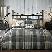 Dreams n Drapes Connolly set de funda de edredón con diseño de cuadros gris Pillowcases_P, gris oscuro, Super King Cover Set