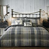 Dreams & Drapes - Connolly Check - 100% Brushed Cotton Duvet Cover Set - Super King, Charcoal