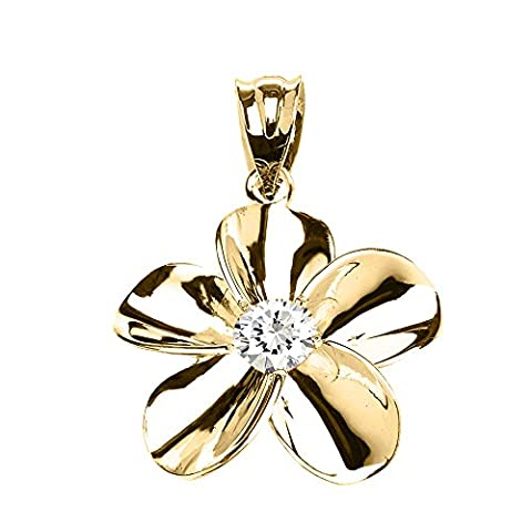 10 ct Yellow Gold Hawaiian Plumeria Cubic Zirconia Pendant Necklace (Comes With an 18