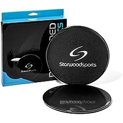 Starwood Sports ® 2 Discos Deslizantes - Doble Cara - para Moqueta o Suelos Duros - Gimnasia, Aeróbic, Crossfit y Entrenamiento de Fuerza