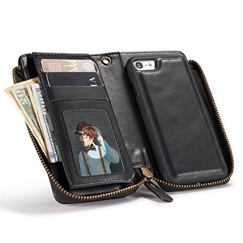 iPhone 6 Hülle, iPhone 6S Hülle, Gift_Source [ Schwarz ] Leder Phone Case Hülle Brieftasche mit Kartenfächer [Geldscheinfach mit Reißverschluss] Premium Börse Tasche mit abnehmbaren Magnet Handy Schut E1-Schwarz