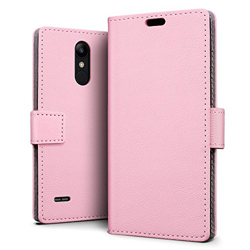 SLEO LG K9/LG K8 2018 Hülle, PU Leder Case Tasche Schutzhülle Flip Case Wallet im Bookstyle für LG K9/LG K8 2018 Cover - Rosa