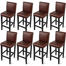 Woltu bh21br de 8taburete de bar Bistro silla madera piel sintética Bistro–Taburete con respaldo (8unidades, madera maciza, antideslizante, goma, piel sintética, asiento acolchado, color marrón