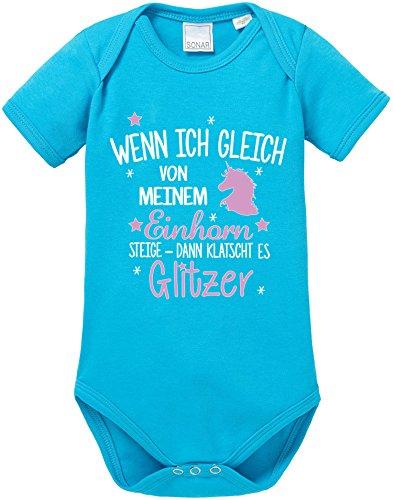 EZYshirt® Wenn ich gleich von meinem Einhorn steige - Dann klatscht es Glitzer Baby Body Shortsleeve (Bonnie Und Clyde Kostüme Für Kinder)