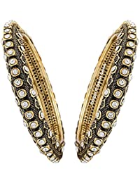 Jewels Galaxy Elegant Kundan Antique Designer Stunning Gold Plated Bangles - Set Of 2