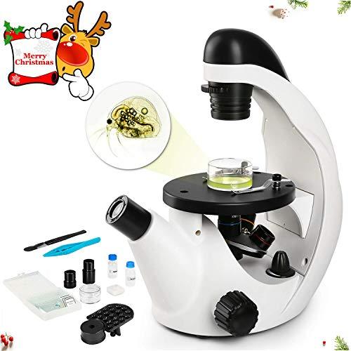 TELMU Microscopio Ocular monocular 40X-320X, con función de iluminación LED, Imagen, filtros de Colores y Soporte para teléfono Inteligente: Adecuado para Ver la Placa de Petri