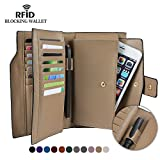 Befen Women's RFID Blocking Full Grain Leather Wallet Purse Clutch Multi Card Organizer Card Holder with Zipper Pockets for iPhone 8/7/6s/6 Plus -Khaki