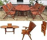 Gartengarnitur Sitzgruppen Gartenmöbel Set Holz Akazie 7tlg. 150/200 cm
