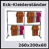 raff 260x200x60 Profi KLEIDERSTÄNDER ECKSTÄNDER KLEIDERSTANGE GARDEROBE-K260W
