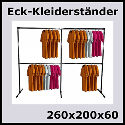 raff 260x200x60 Profi KLEIDERSTÄNDER ECKSTÄNDER KLEIDERSTANGE GARDEROBE-K260W (Eck-kleiderschrank-regal)