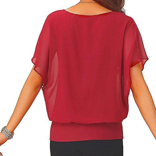 VIISHOW Damen lose Chiffon Top Rundhals Fledermaus Kurzarm Beiläufige T-Shirt(Rot S) - 2