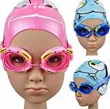 Generic lake blue : Safety Cute Children Silicone Watertight Anti-fog Crab Swimming Goggles Glasses for Kids Swimming Accessory