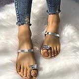 QIMITE Zapatillas Flip-Flop Sandalias Planas Chanclas de Verano Zapatillas de Playa Zapatillas macizas Mujeres Zapatillas de casa para Exteriores Plata, Color de Foto, 39