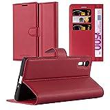 Cadorabo Hülle für Sony Xperia XZ/XZs - Hülle in Karmin ROT - Handyhülle mit Kartenfach & Standfunktion - Case Cover Schutzhülle Etui Tasche Book Klapp Style
