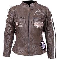 Leder24h Damen Motorrad Lederjacke mit Protektoren 2085