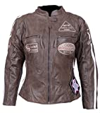 Leder24h Damen Motorrad Lederjacke mit Protektoren 2085 (L)