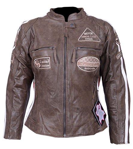 LEDER24H Damen Motorrad Lederjacke mit Protektoren 2085 (2XL)