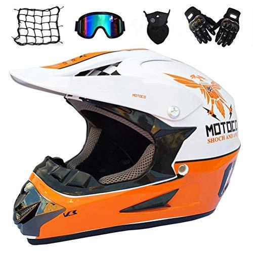 JLbao Casco de Motocross con Gafas (5 Piezas) - Blanco y Naranja...