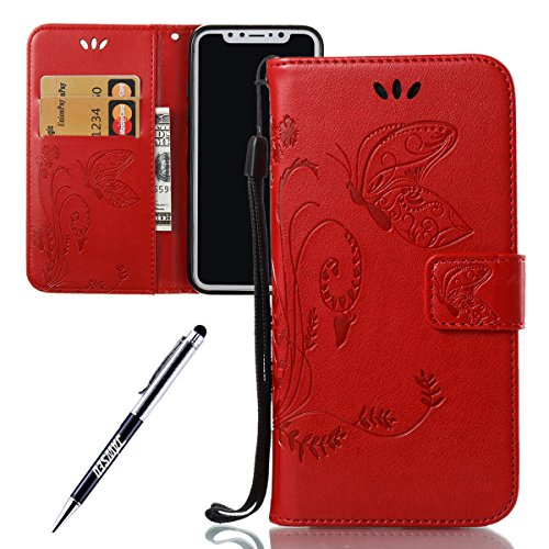iPhone X Custodia in Pelle, Cover Custodia Per iPhone X, JAWSEU Retro Colore solido [Shock-Absorption][Anti Scratch] Wallet PU Leather Folio Case Cover per iPhone X Custodia Portafoglio con Super Sott Farfalla, Rosso