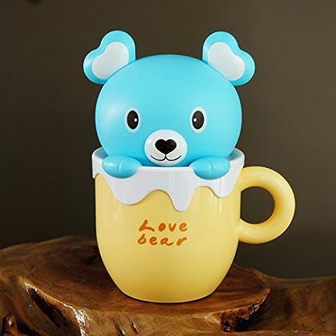 Creativos de dibujos animados lindo oso conejo tazas led carga pequeña lámpara luz ojo ahorro duradero dormitorio lámpara de la mesilla noche alimentación tímido conejo rosa blanco,Cuidado oso amarillo Blu-ray