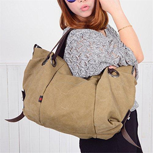 Cool&D Damen Canvas Tasche Mädchen Umhängetasche Shopper Schultertasche Leinwand Tragetasche für Freizeit Schul 42*18*35cm Khaki