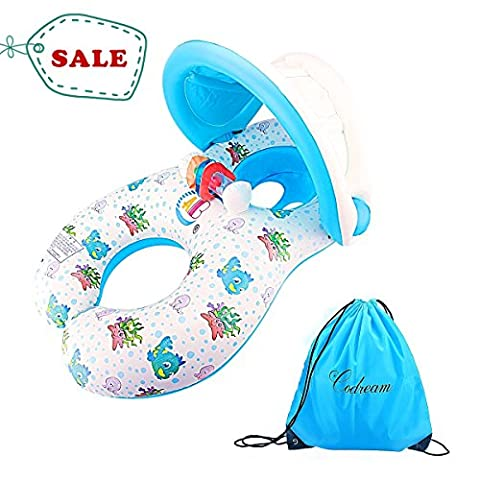 Mother and Baby Float Toy Safety Inflatable Seat Boat Toddler Swimming Ring with Canopy and Storage bag