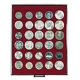 Münzenbox mit 30 Vertiefungen á 38 mm [Lindner 2715], z.B. für 5 Mark Kaiserreich, 1 US$ Morgan, Trade, Liberty, Gorbrecht, Peace, 1 Unze Maple Leaf (Silber), 500 ÖS - Ausführung: Rauchglas