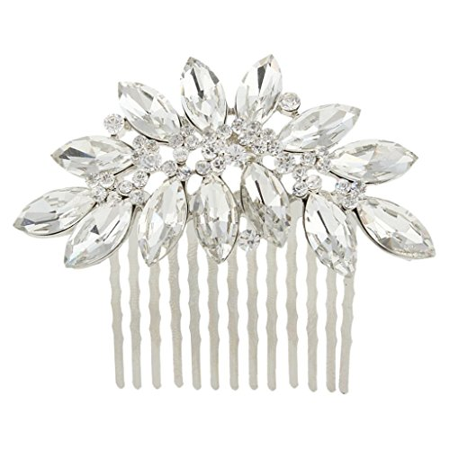 EVER FAITH Austrian Crystal Bridal Marquise-Shape Hair Comb Clear N00406-1