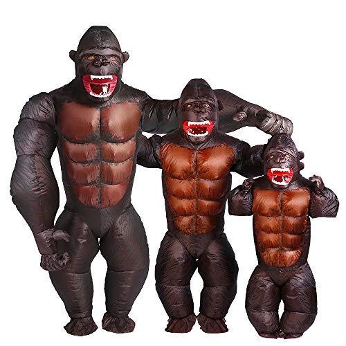 YOWESHOP Erwachsene Gorilla Kostüm – Halloween aufblasbares Kostüm Orangutan Gibbon Schimpanse AFFE Kostüm Blow Up Suit