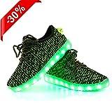 LED Schuhe,Shinmax Leuchtende Sneakers Unisex 7 Farbe USB Aufladen Leutchtschuhe Sport LED Kinderschuhe für Unisex-Erwachsene Herren Damen und Jungen Mädchen mit CE-Zertifikat (40, Grün)