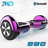 2WD 6.5 '' Hoverboard Scooter eléctrico Las Ruedas LED Luces Self Balance Scooter con Bluetooth, Scooter eléctrico 6.5'- UL2272 Certificado el monopatín eléctrico 2 * 350W