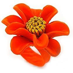 Naranja/Amarillo de margarita sortijaflor - 35 mm D - ajustable
