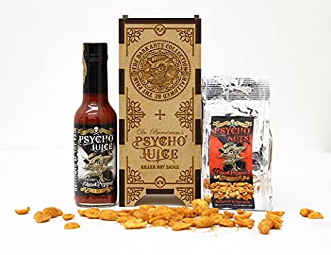 Psycho Juice Dark Arts Wooden Gift Box - Psycho Juice Extreme Ghost Pepper & Psycho Nuts *Limited Availability*