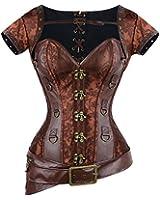 Charmian - Damen Vollbrustkorsett mit Jacke und Gürtel - Brokatmuster - Retro/Gothic/Steampunk